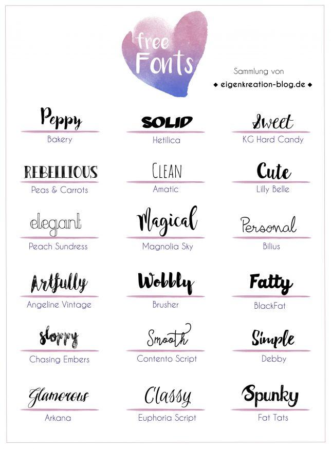 Typo Liebe Sammlung Kostenloser Fonts Eigenkreation