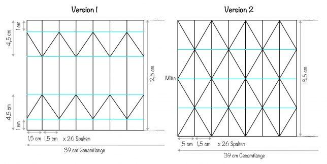 Benötigten Abmaße der beiden Plissee/Origami Vasen aus Papier