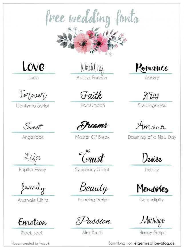 Sammlung persönlicher, kostenloser Hochzeits Fonts, z.b. im Kalligrafie Stil