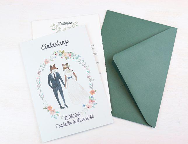 Das selbstgestaltete Design unserer Hochzeitseinladung.