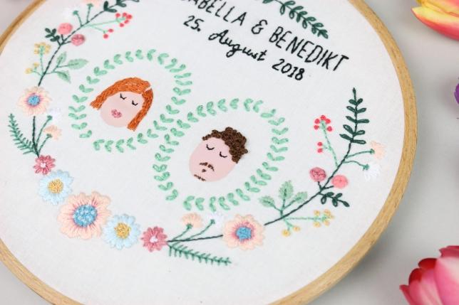 Stickbild von uns beiden für unsere Hochzeit