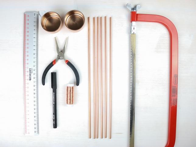 Materialien für die Erstellung der geometrischen Teelichthalter