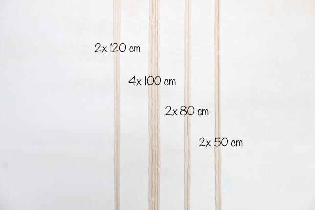 Benötigte Seilzuschnitte für das Makramee-DIY