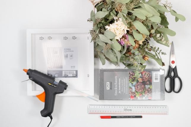 Benötigtes Material für Trockenblumenbild