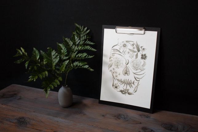 Floral Skull Illustration